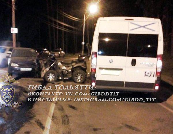 В зеленой зоне Тольятти квадроцикл протаранил автомобиль и маршрутку | CityTraffic