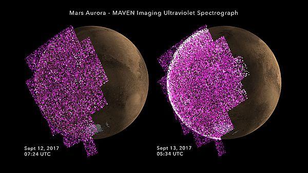 Солнечный ветер вызвал на Марсе сияние в25 раз более яркое, чем когда-либо