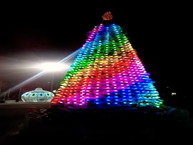 В Самаре на площади Куйбышева новогодние елки вмедиагирляндах сверкают ипоют: видео