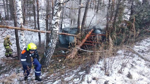 В Тольятти легковушка врезалась в дерево и загорелась | CityTraffic