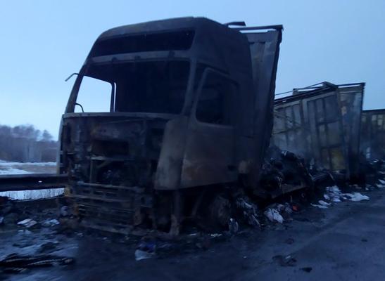 В Самарской области на трассе М-5 во время движения загорелась фура: видео | CityTraffic