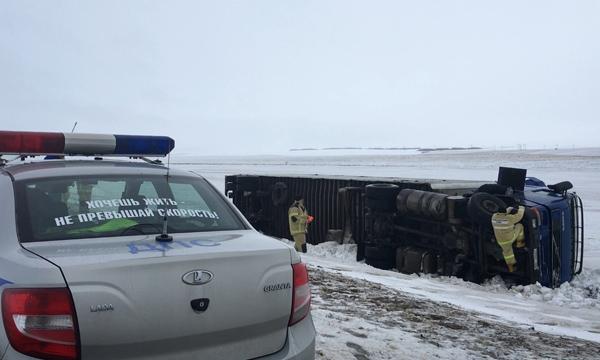 В Самарской области опрокинулся грузовик из соседнего государства, который вез 11 лошадей | CityTraffic