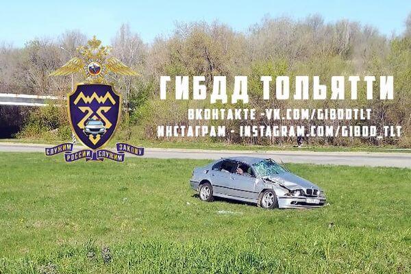 Житель Тольятти без прав опрокинулся на БМВ вместе с двумя пассажирами | CityTraffic