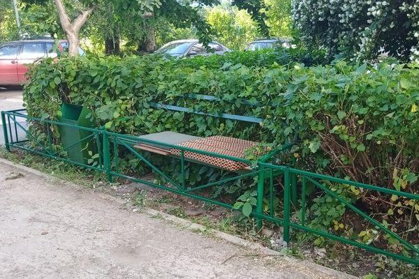 В Тольятти вместе с газоном у дома забором огородили и скамейку | CityTraffic