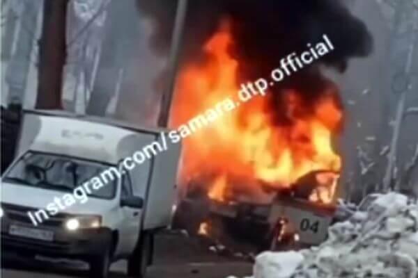 В Самаре на видео сняли горящую ГАЗель газовиков | CityTraffic