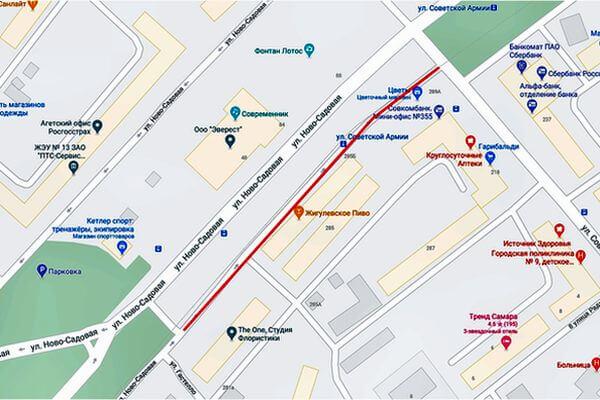 С 18 февраля в Самаре ограничат движение по дублеру Ново-Садовой | CityTraffic