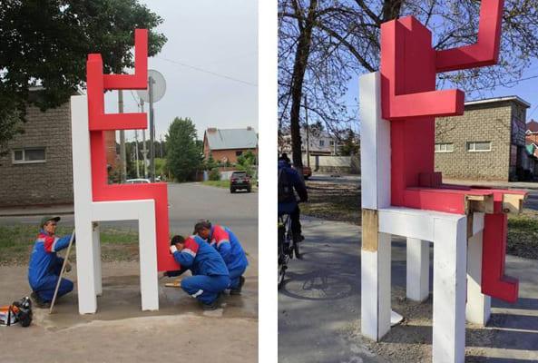 В Тольятти вандалы оторвали ногу «Красному человеку» | CityTraffic