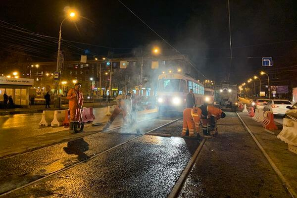 В Самаре ремонтируют   трамвайное межпутье на проспекте Кирова | CityTraffic